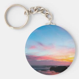 La playa de Handry de la puesta del sol Llaveros