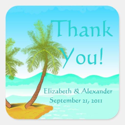 ¡La playa de la palmera - agradezca Usted-La Pegatina Cuadrada