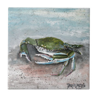 La playa del cangrejo azul critica despiadadamente azulejo cuadrado pequeño
