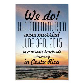 La playa del destino Eloped/las invitaciones del Invitación 8,9 X 12,7 Cm