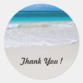 La playa del océano redonda le agradece los pegatina redonda