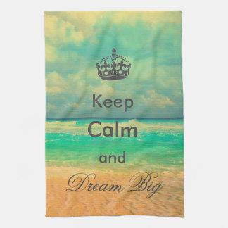 """la playa del vintage """"guarda calma y soña"""" cita gr toalla de mano"""