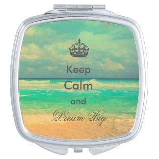 """la playa del vintage """"guarda calma y soña"""" cita gr espejo compacto"""