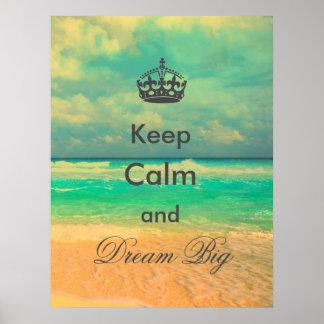 """la playa del vintage """"guarda calma y soña"""" cita póster"""