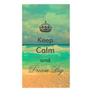 """la playa del vintage """"guarda calma y soña"""" cita tarjetas de visita"""