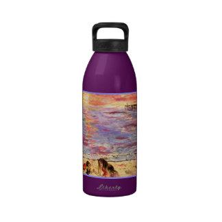 la playa embroma arte botella de agua