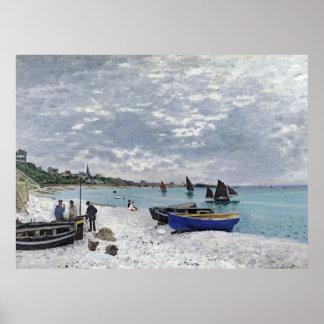 La playa en 1867) lonas de Sainte-Adresse ( Poster