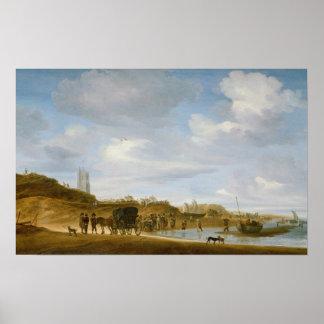 La playa en Egmond-an-Zee Póster