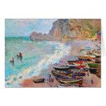 La playa en Etretat Claude Monet Felicitación