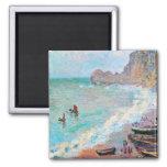 La playa en Etretat Claude Monet Imán Cuadrado