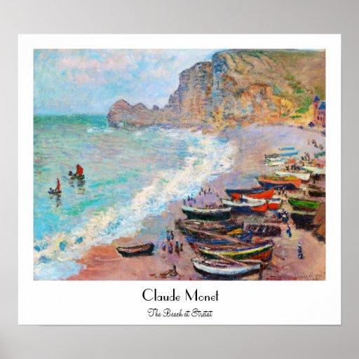 La playa en Etretat Claude Monet Poster