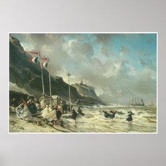 La playa en Granville, 1863 Posters