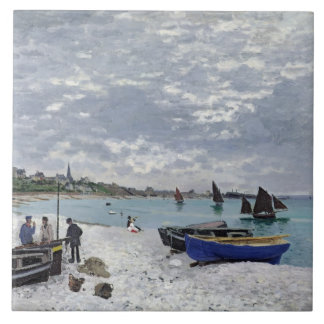 La playa en Sainte-Adresse, 1867 Azulejo