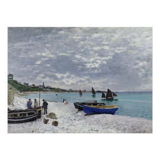 La playa en Sainte-Adresse (1867) Posters