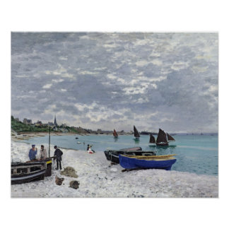 La playa en Sainte-Adresse, 1867 Poster