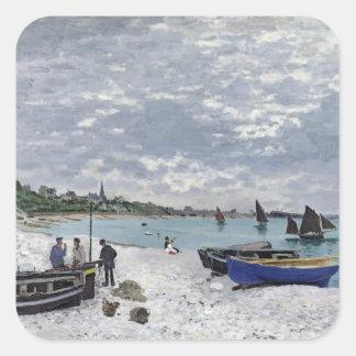 La playa en Sainte-Adresse, 1867 Pegatina Cuadradas Personalizada