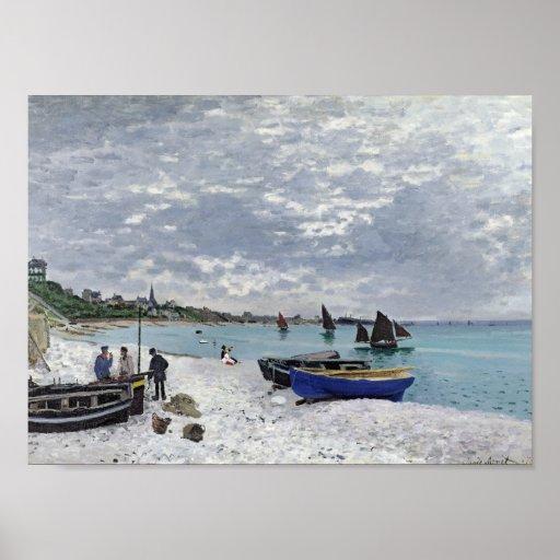 La playa en Sainte-Adresse - Claude Monet Poster