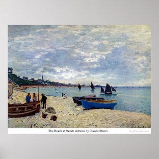 La playa en Sainte Adresse de Claude Monet Posters