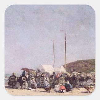 La playa en Trouville, 1864 Calcomanía Cuadrada