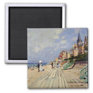 La playa en Trouville - Claude Monet Imán Cuadrado