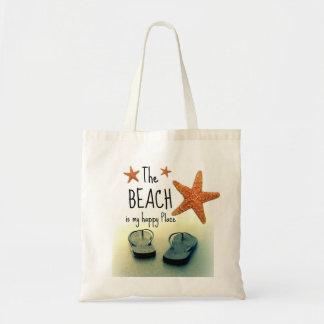 La playa es mi bolso feliz de los flips-flopes del bolsa tela barata