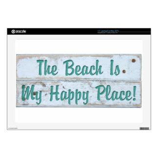 La playa es mi lugar feliz calcomanía para 43,2cm portátil
