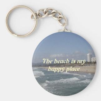 La playa es mi lugar feliz llavero redondo tipo pin