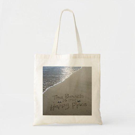 La playa es mi tote feliz del lugar bolsas