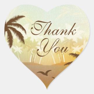 La playa escénica anaranjada tropical le agradece pegatina corazon personalizadas