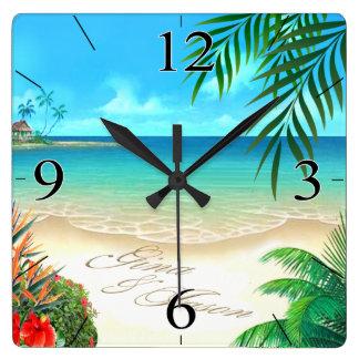 La playa exótica PIDE que DIBUJE SUS NOMBRES EN Reloj De Pared