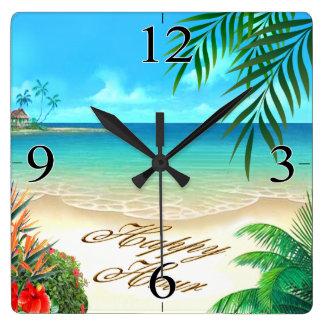 La playa exótica PIDE que DIBUJE SUS NOMBRES EN Reloj Cuadrado