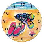 La playa Flip-flops el reloj de pared