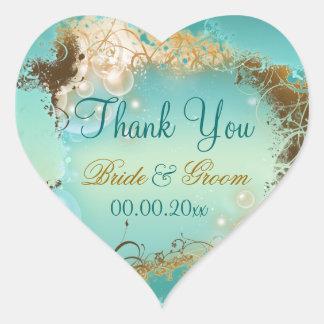 """La playa """"le agradece"""" aguamarina del boda blanca pegatina de corazon"""
