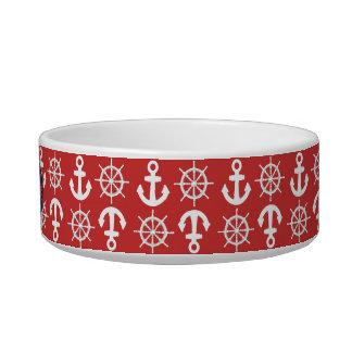 La playa náutica azul blanca roja ancla las ruedas tazón para gato