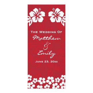 La playa roja florece programa del boda tarjetas publicitarias a todo color