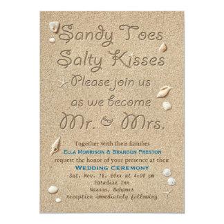 """La playa Sandy toca con la punta del pie besos Invitación 5"""" X 7"""""""