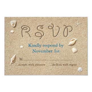 """La playa Sandy toca con la punta del pie los besos Invitación 3.5"""" X 5"""""""