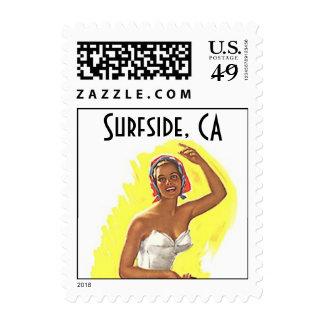 La playa Surfside retro CA California sella el Sellos