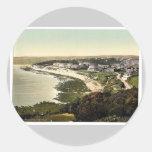 La playa, vintage Pho de Falmouth, Cornualles, Etiqueta Redonda