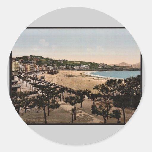 La playa, vintage Photochrom de San Sebastián, Pegatina Redonda