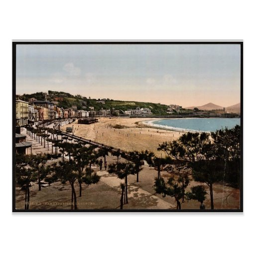 La playa, vintage Photochrom de San Sebastián, Postal