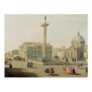 La plaza Colonna, Roma Postal