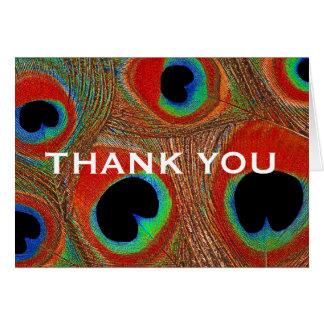 La pluma azul anaranjada del pavo real de la tarjeta de felicitación