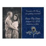 La pluma azul del damasco y del pavo real ahorra tarjeta postal