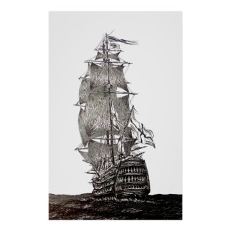 La pluma de Galleon y dibujo de la tinta en blanco Posters