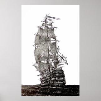 La pluma de Galleon y dibujo de la tinta en blanco Póster