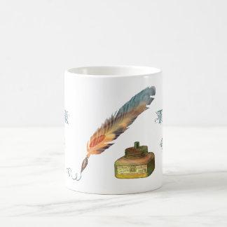 La pluma de la pluma le agradece asaltar taza de café