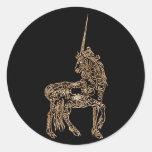 La pluma del oro del Victorian prosperó unicornio  Pegatinas Redondas