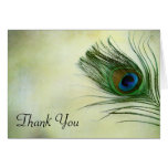 La pluma del pavo real del vintage le agradece tarjetas