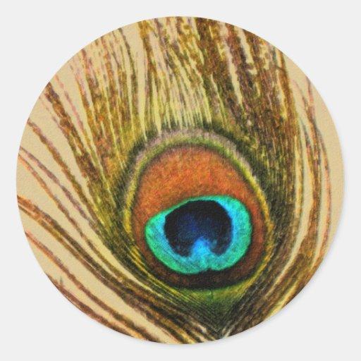 La pluma del pavo real fijó 1108 etiqueta redonda